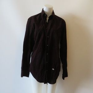 ETRO MILANO BROWN COTTON CORDUROY SHIRT SIZE 39/M